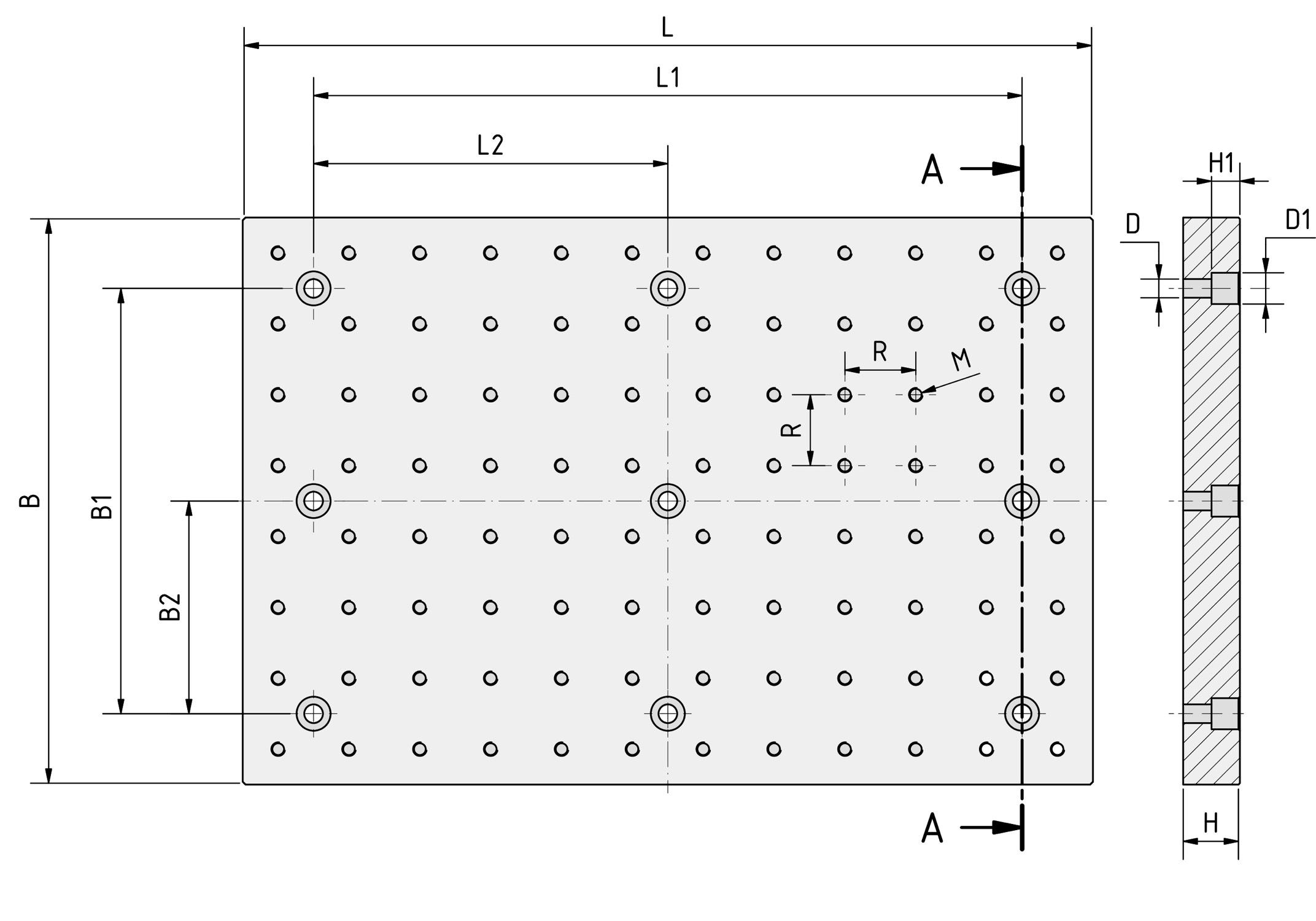 Zeichnung der Lochrasterplatte