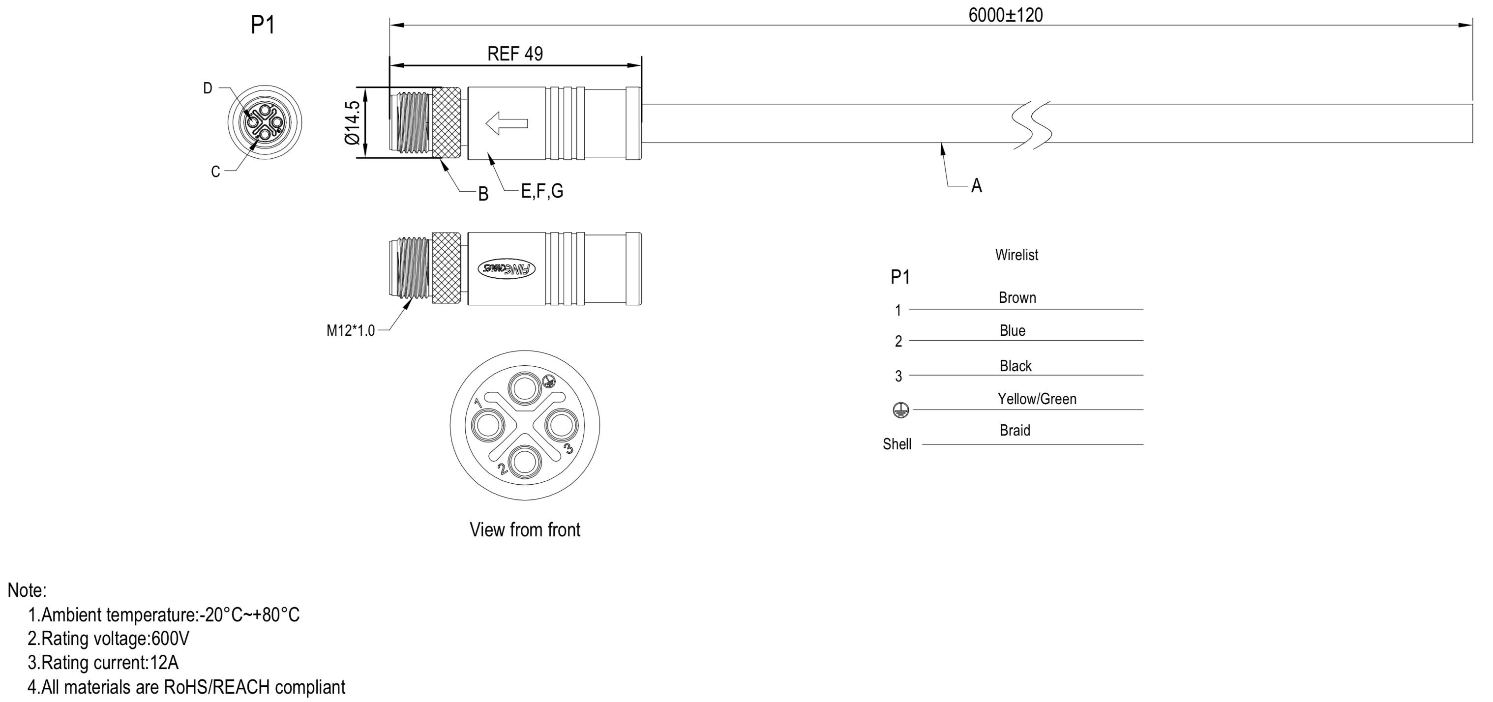 Kabel zum anschließen von HF-Spindeln